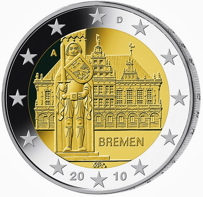 2 euro Germany 2010, Bremen City Hall and Roland