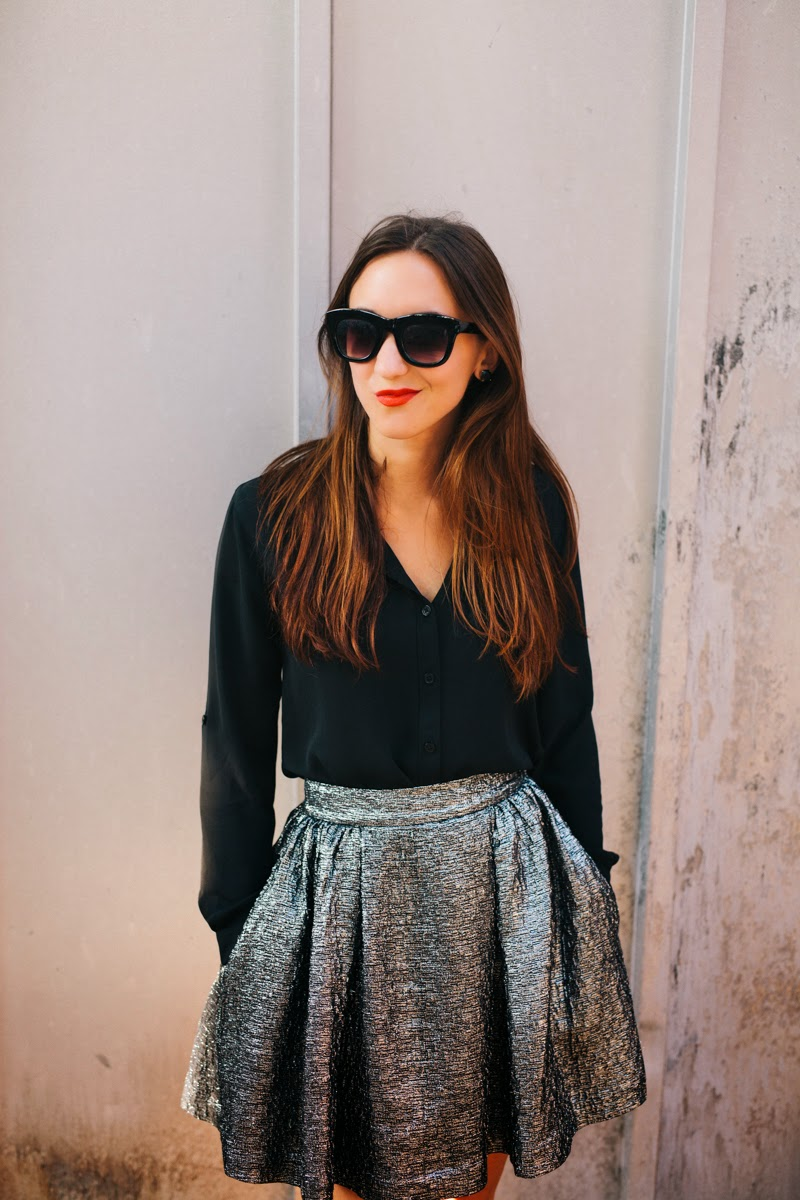 kate spade party skirt, black button down blouse, karolina high heels, white nails, judith bright ring, kate spade watch, marc jacobs sunglasses, nars lipstick, fall party style, glitter socks, rhinestone socks