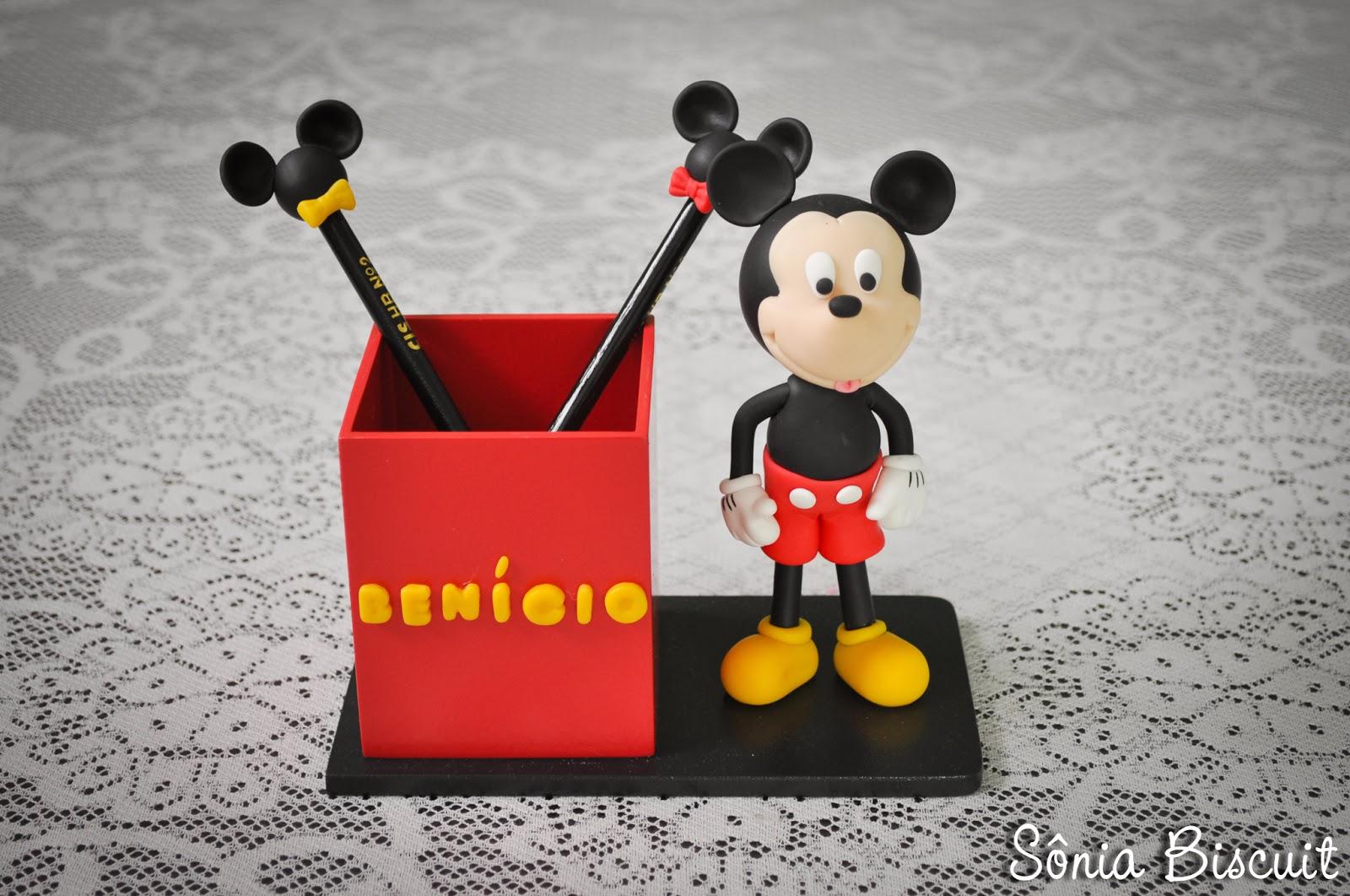 Mickey Porta-Lápis Porta Lápis Lembrancinha Aniversário Biscuit