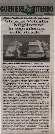 STRISCIA VETRALLA INTERVIENE SULLA SEGNALETICA STRADALE DOPO L'INCIDENTE MORTALE DEL 24 DICEMBRE