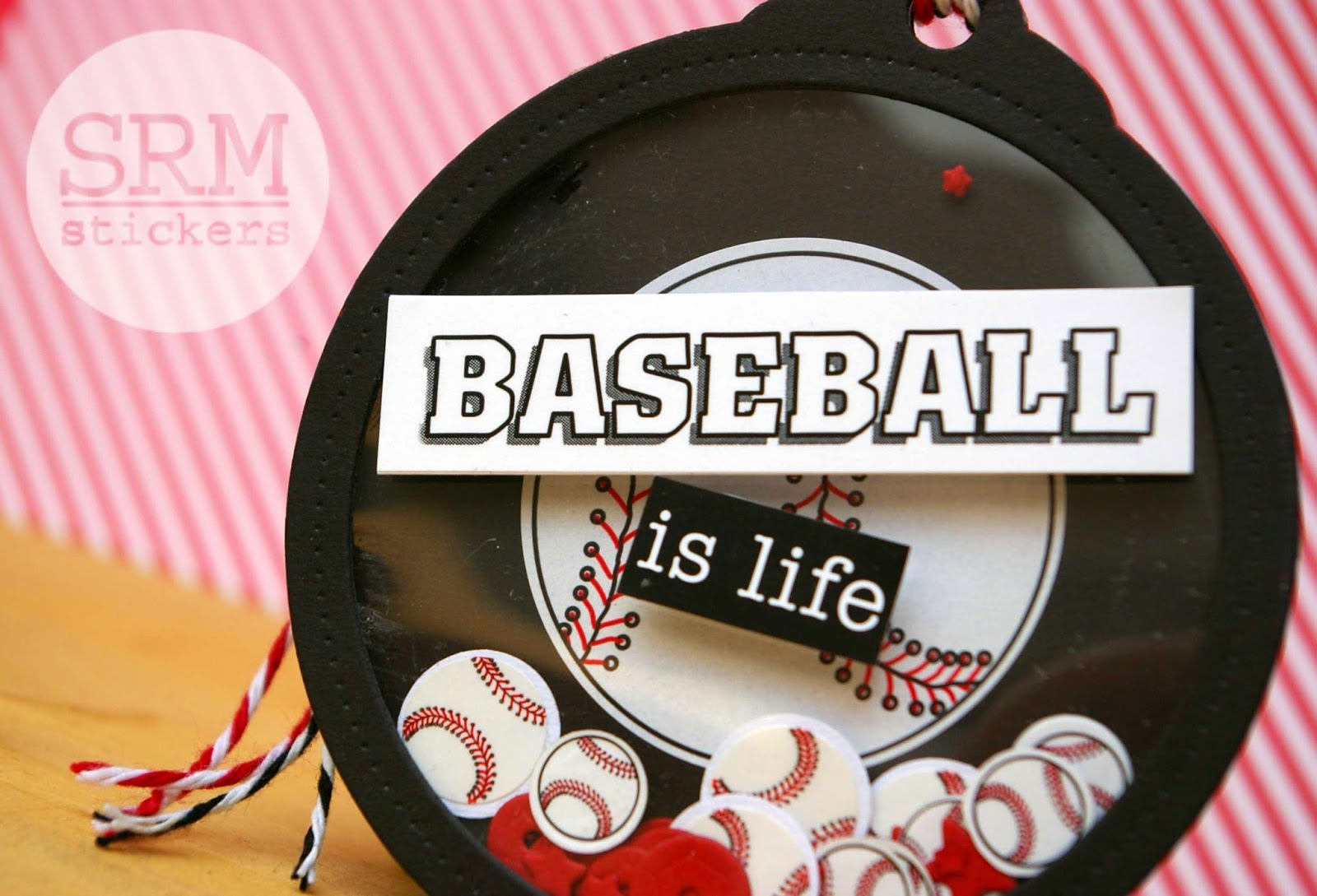 SRM Stickers Blog - Baseball is Life Shaker Tag by Lorena - #tag #shaker #sports #baseball #twine #stickers