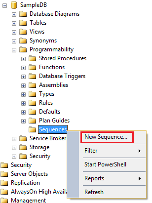 create sequence in sql server