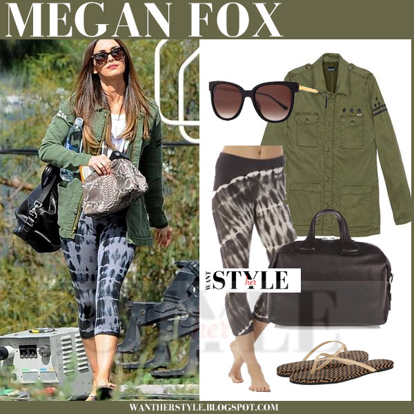 Megan Fox in green military mother jacket and tie dye cropped leggings what she wore streetstyle