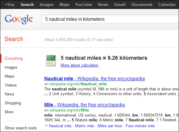 Unit Conversions 'X [units] in [units]' - example, 5 nautical miles in kilometers