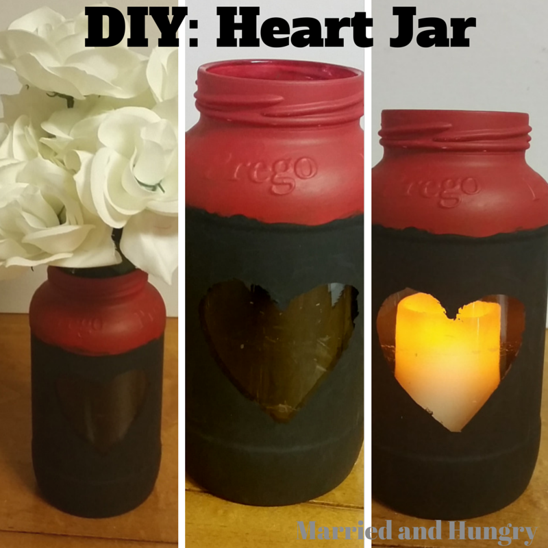 DIY Heart Jar Tutorial. Use as a vase, or candle holder. #diy #vase #recycle