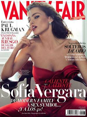 Sofia Vergara strapless red suit Vanity Fair Spain
