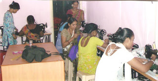 At Aarambh, women learning to sew and knit.