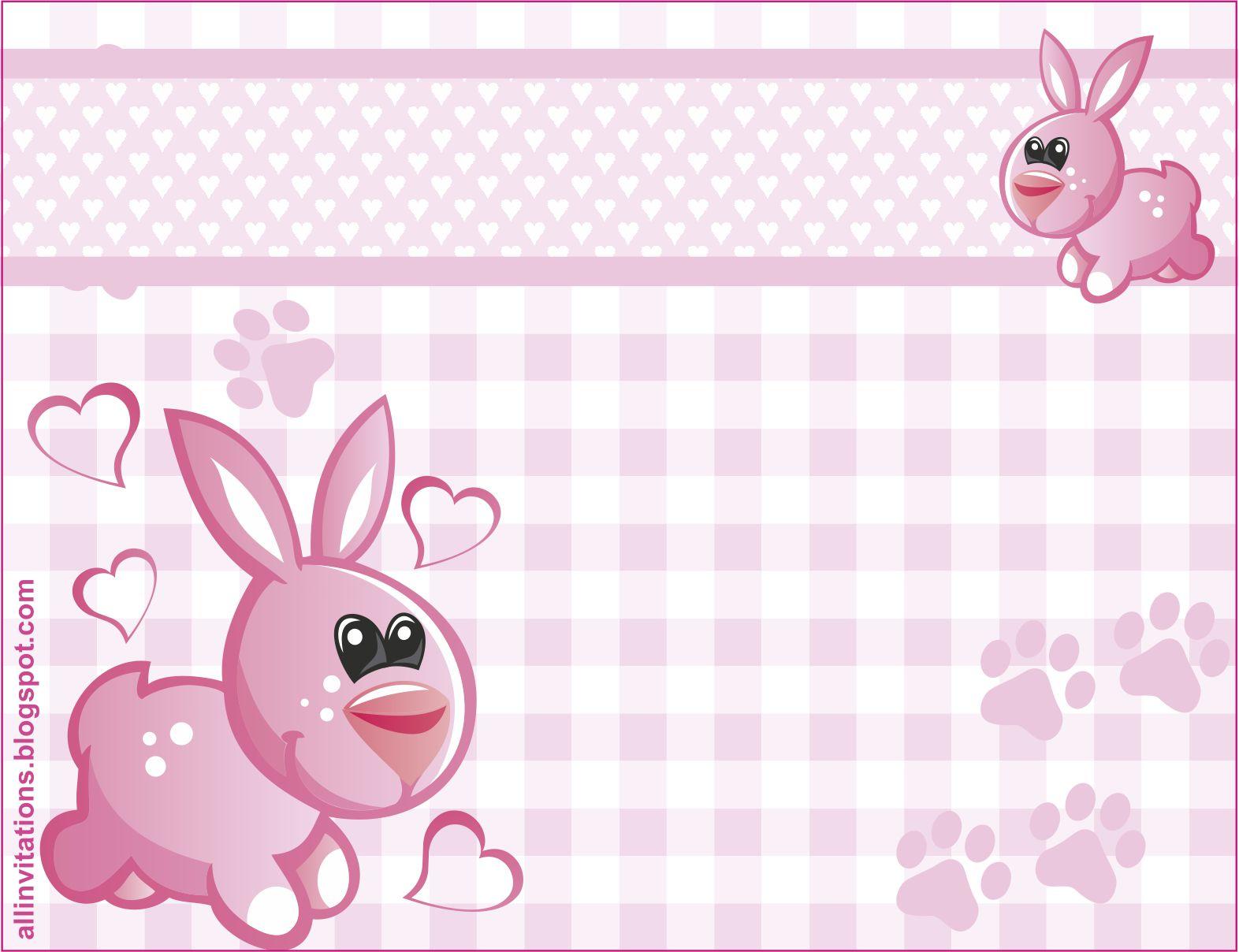 Plantilla De Invitación De Baby Shower Con Tema De Conejita Para Niñas