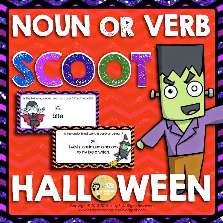 Halloween Noun or Verb SCOOT Task Cards