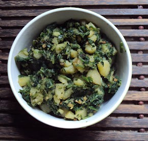 aloo saag ...spinach and new potatoes cooked to a mushy scramble...