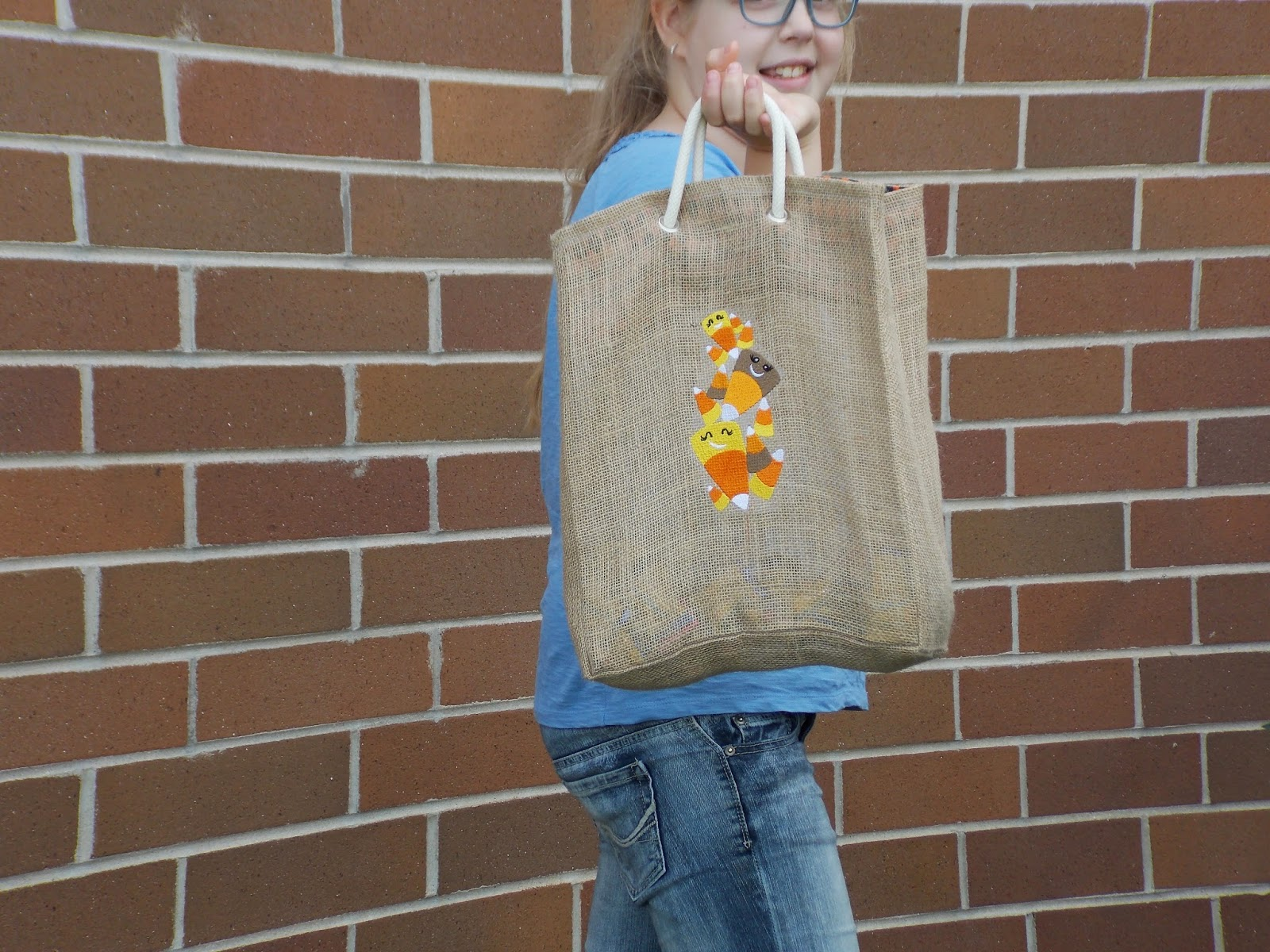 Candy Corn Embroidered Halloween Candy Bag