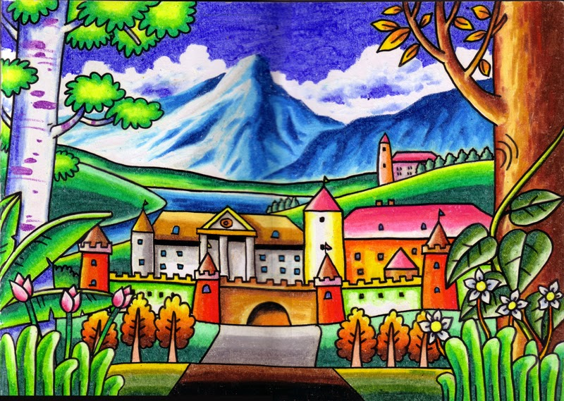 Gambar Pemandangan Crayon