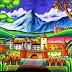 gambar lukisan pemandangan alam dengan crayon