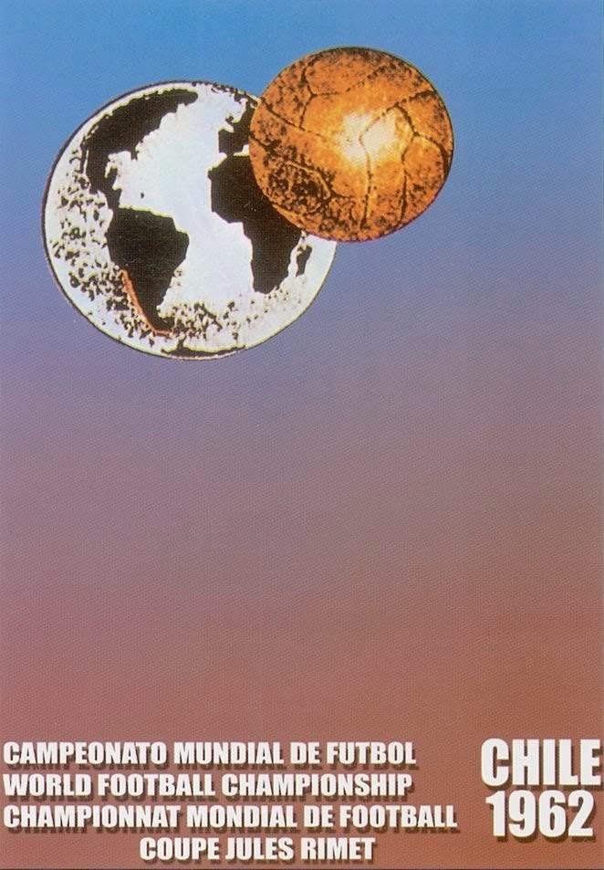 Cartaz oficial da Copa do Mundo de 1962, realizada no Chile. Destaque para as pesquisas tecnológicas aplicadas no contexto.