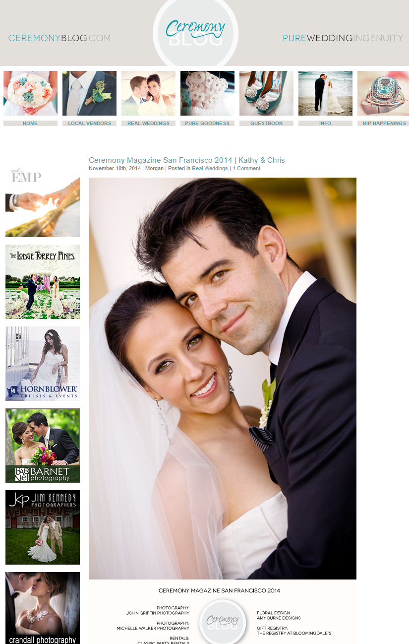 Diablo Country Club wedding featured on Ceremony Magazine's blog.