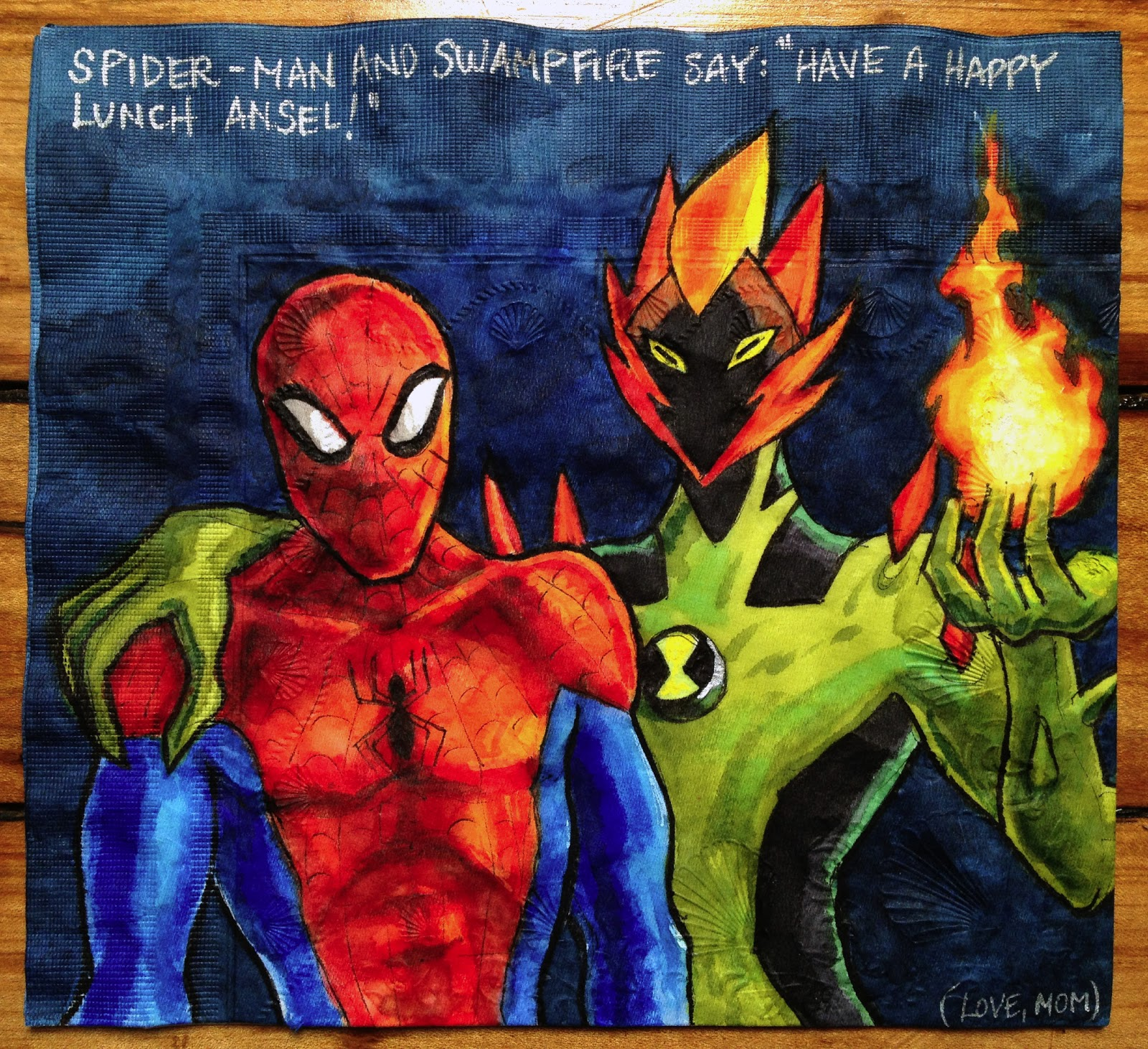 Daily Napkins: Spidey & Swampfire