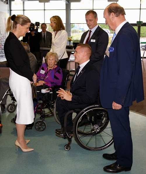Sophie, Countess of Wessex meets David Weir, winner of six Paralympic gold medals, during a visit to WheelPower at the Stoke Mandeville Stadium