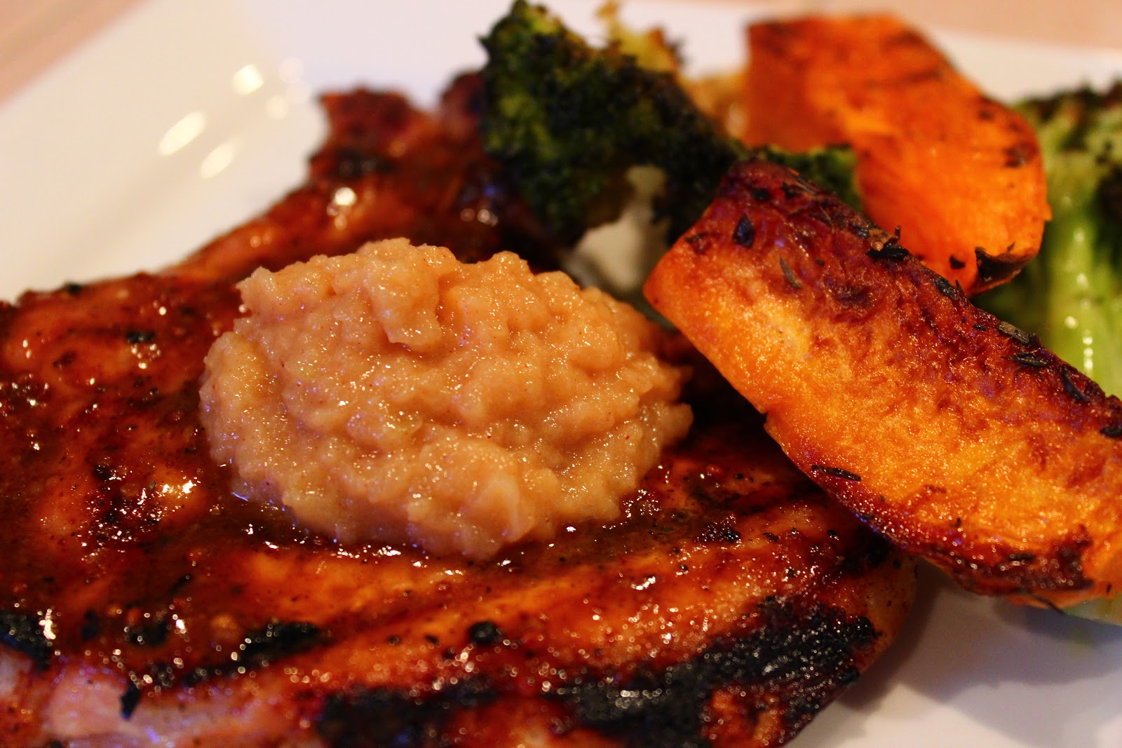 Primal Bites: BBQ Molasses Pork Chops w Homemade Apple Butter ...