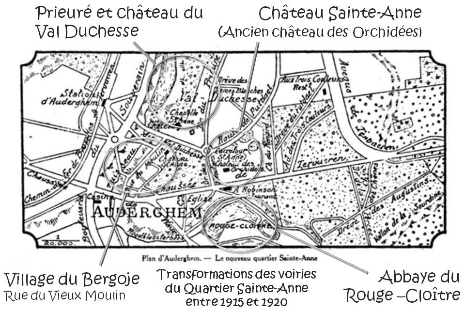 Auderghem - Clos du Bergoje - Prieuré et château du Val Duchesse - Château Sainte-Anne (ancien château des Orchidées-château Madou) - Abbaye de la Cambre - Bruxelles-Bruxellons