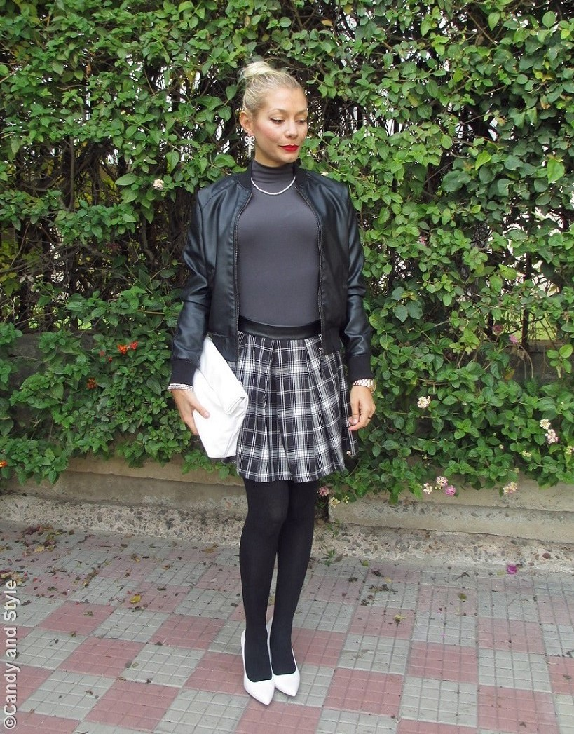 LeatherBomber, Turtleneck, B&WTartanMiniSkirt, WhiteWedges, LunchBag, HighKnot - Lilli Candy and Style Fashion Blog