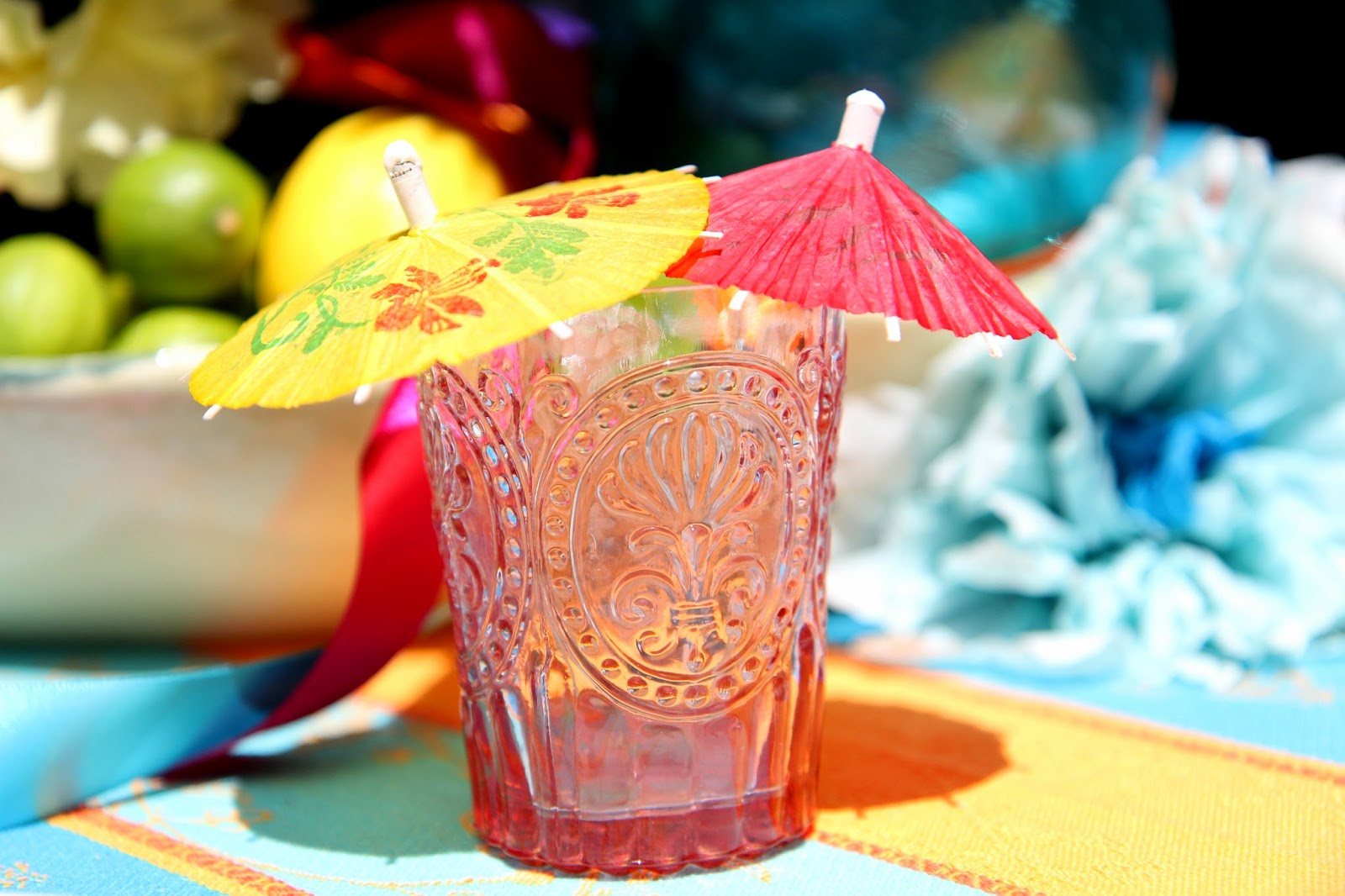 Margarita glasses with umbrellas; Cinco de Mayo Celebration -- Nora's Nest