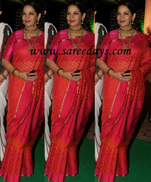 Latest saree designs shabana azmi in designer pink saree checkout shabana azmi in designer pink saree with zari border and zari work all over the saree and paired with matching half sleeves blouse altavistaventures Image collections