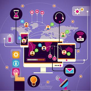 コニュニケーション テクノロジー コンセプト Communication technologies concept イラスト素材