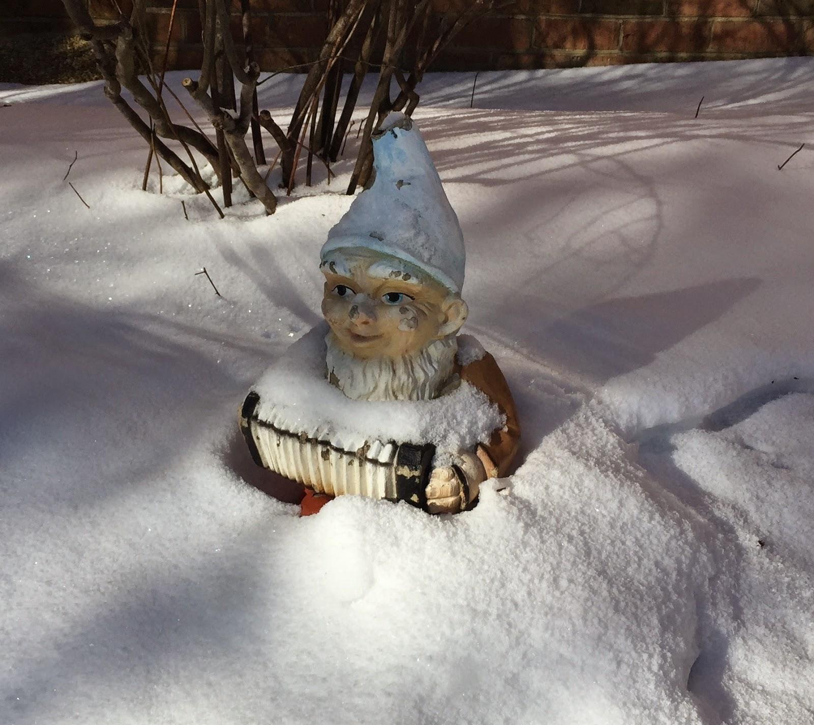 vintage, gnome, snow gnome, grandma's garden, winter garden