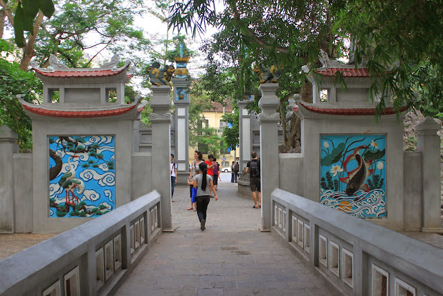 Turning my back to view the rear of the main entrance of Three-Passage Gate (Tam Quan) of Ngoc Son Temple at Hoan Kiem Lake in Hanoi, Vietnam