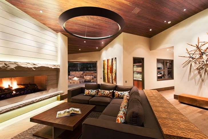 Living room in Modern mountain house in Aspen, Colorado