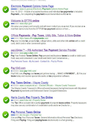 Google search for taxes