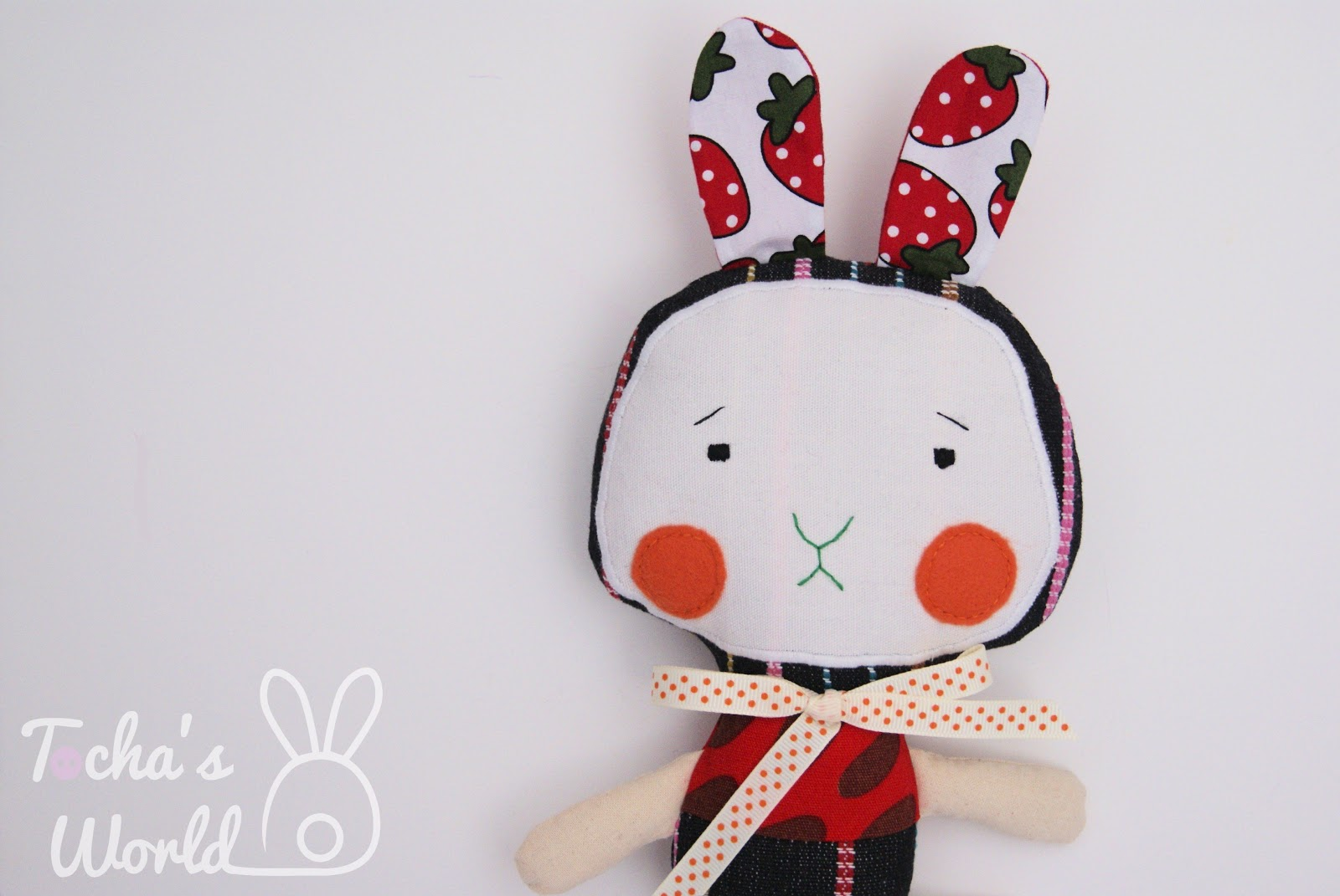 bunny, rabbit, stuffed toy, strawberry, cotton, ribbon, bow, bow tie, Ikea, printed fabric