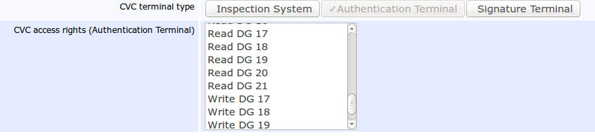 Pic 2: CVC access rights of the Authentication Terminal in EAC 2.10, EJBCA Enterprise 6.2.0.