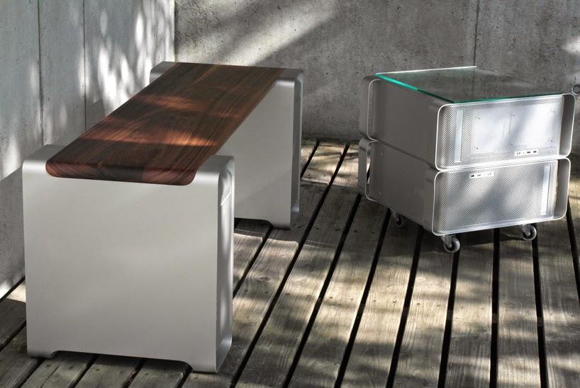 Muebles de Diseño con Cajas de Aluminio Recicladas, CPUs MAC Reciclados