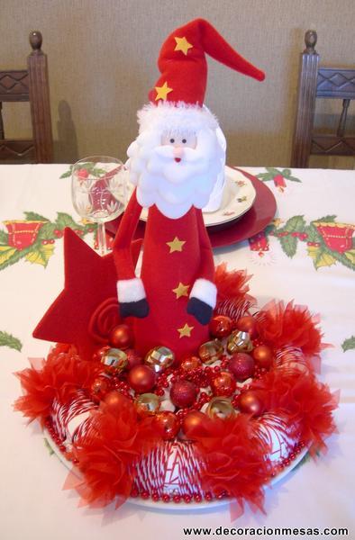 Decoracion de mesas mesa navidad de papa noel for Centro mesa navidad