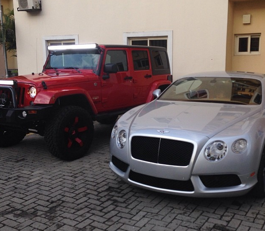 Peter Okoye shows off new 2014 Bentley GT & other P-Square cars
