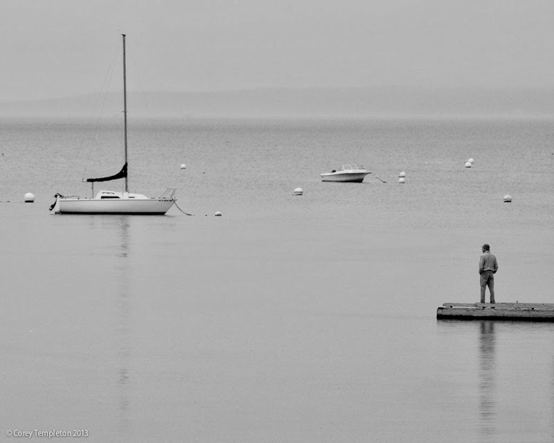 Casco Bay Morning black and white. Portland, Maine. Photo by Corey Templeton.