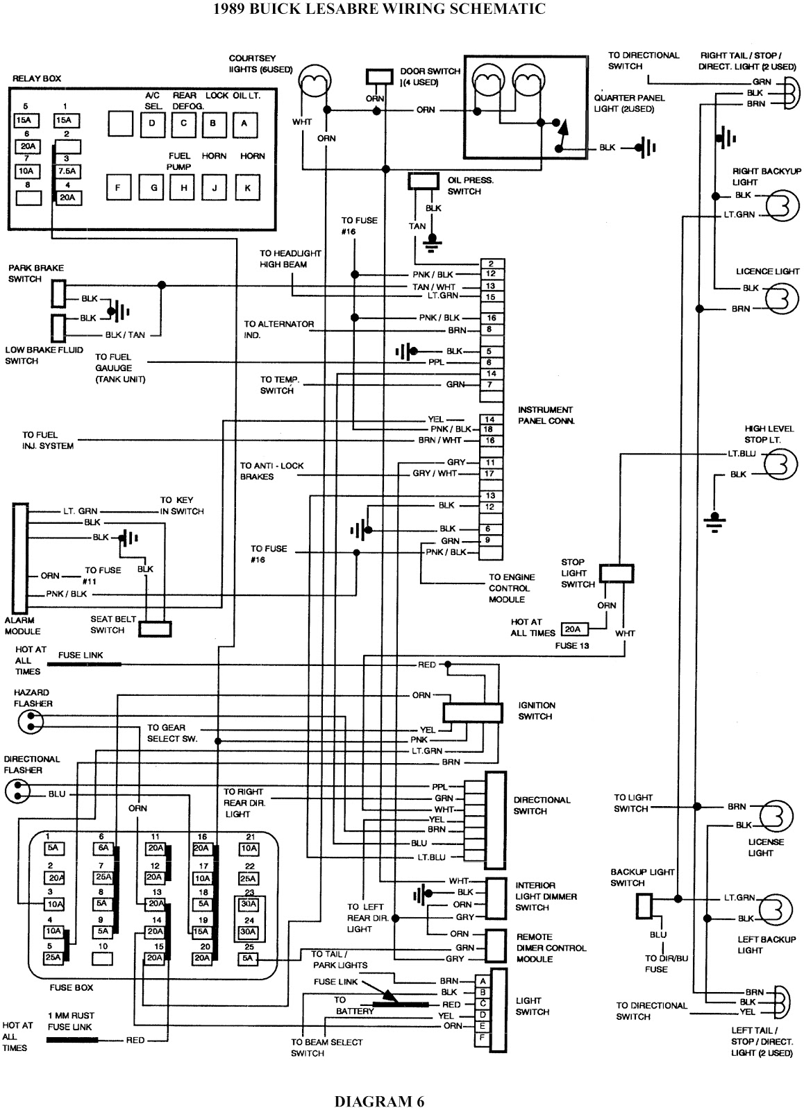 1989 Buick Lesabre Wiring Schematic on 89 firebird fuse box diagram