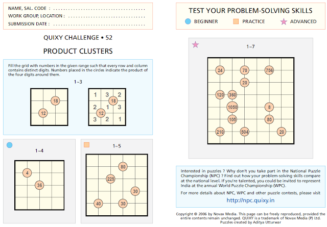 PRODUCT CLUSTERS Puzzles