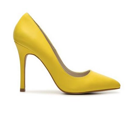 Aldo closed yellow high heeled pump