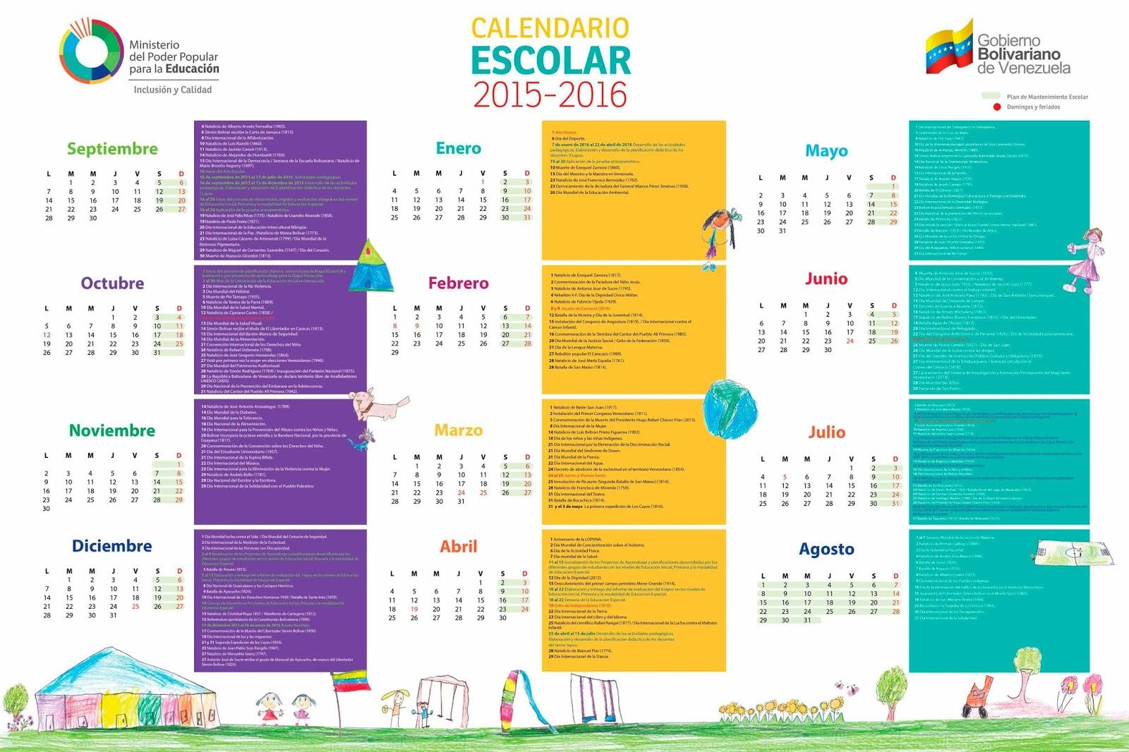 Mi ni o andr s bello calendario escolar 2015 2016 for Calendario 2015 ministerio del interior