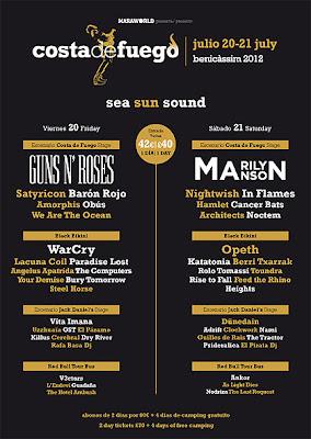 Cartel definitivo del festival Costa de Fuego