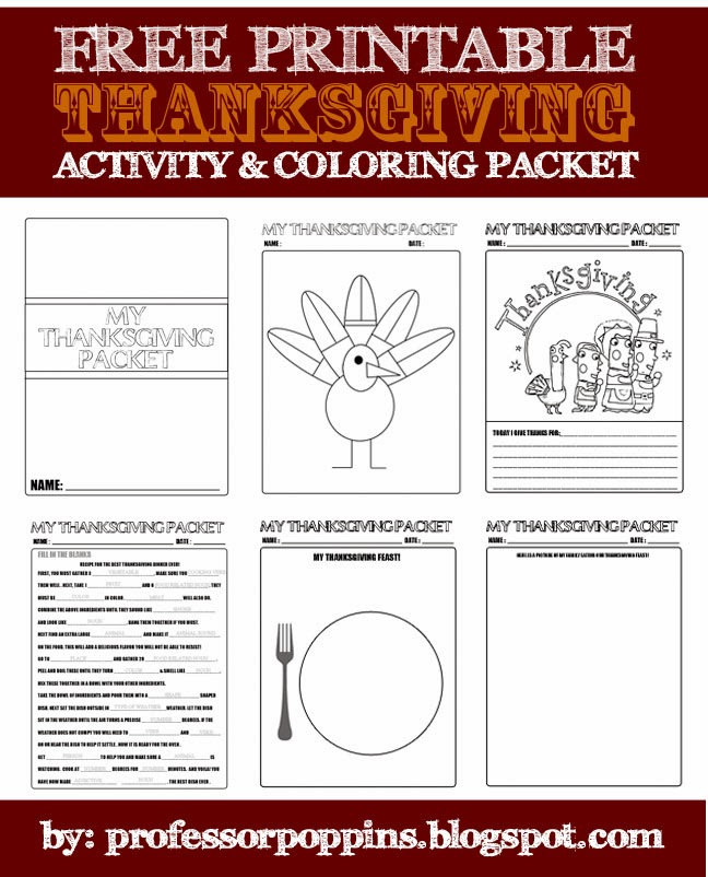 Miss Poppins FREE Thanksgiving Printable Packet For Kids
