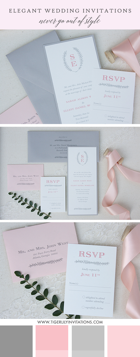 pretty monogram invitation