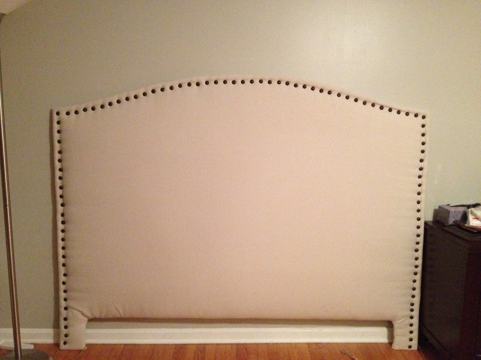 two it yourself diy drop cloth headboard with front nail head trim tutorial