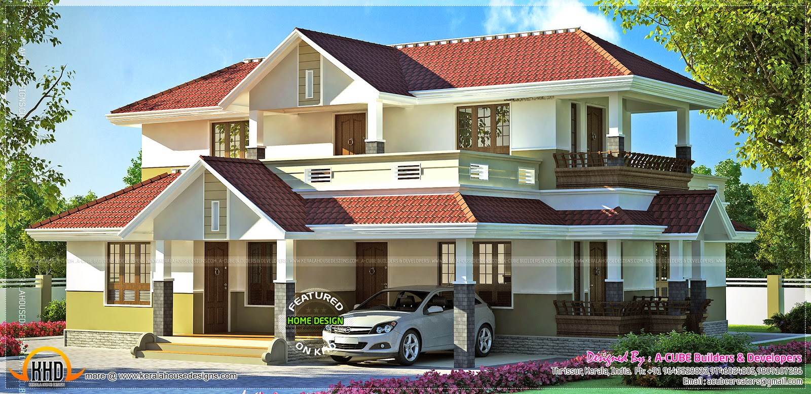 Awesome house renderings in different styles kerala home for Different style house plans