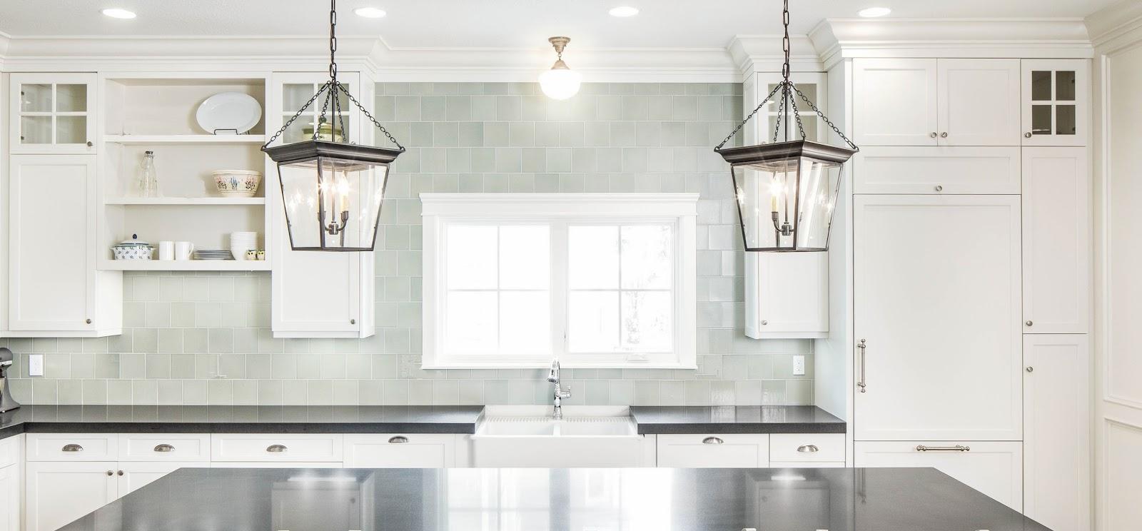 kitchen w handmade tile backsplash visual comfort lanterns honed