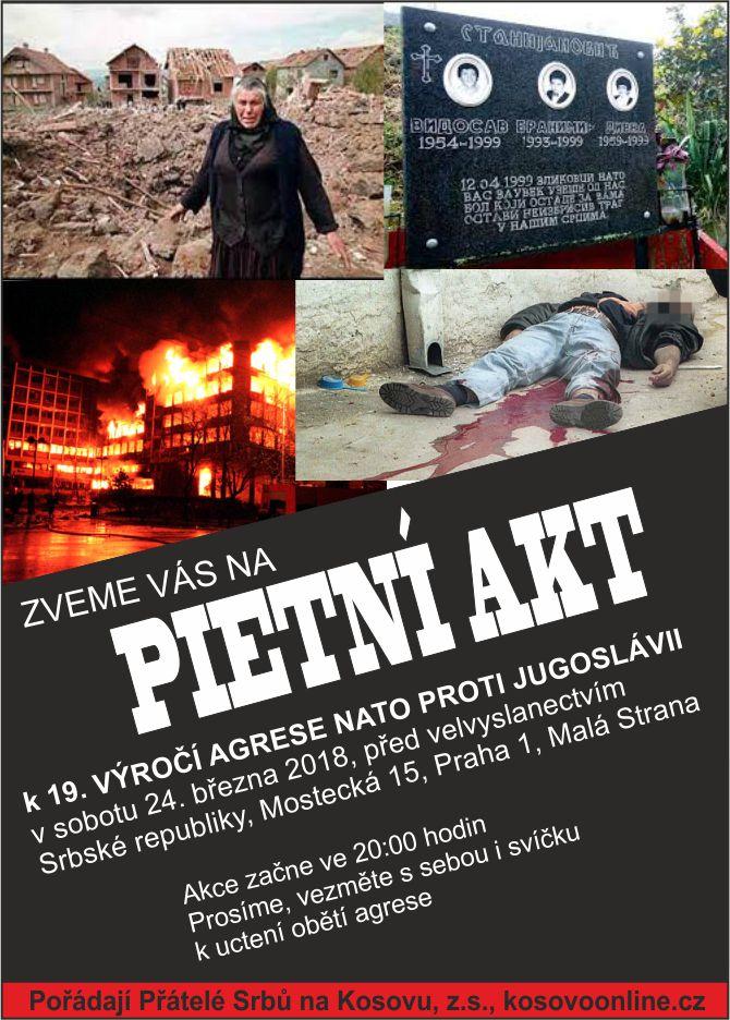 Pozvánka na sobotní pietu - uctění obětí bombardovací agrese států NATO proti Srbsku.