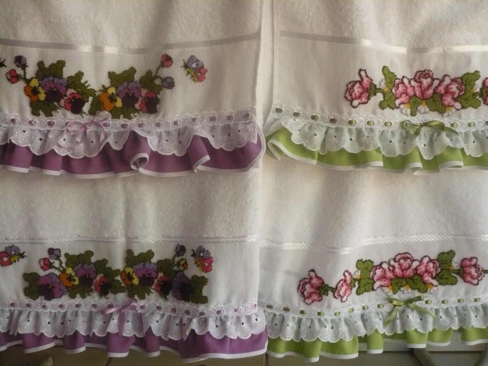 Adesivo De Parede Onde Vende ~ Artesanato Panessa Lindas toalhas bordadas em ponto russo