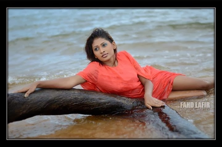 Sri Lankan Model Piumi Hansamali wet beach